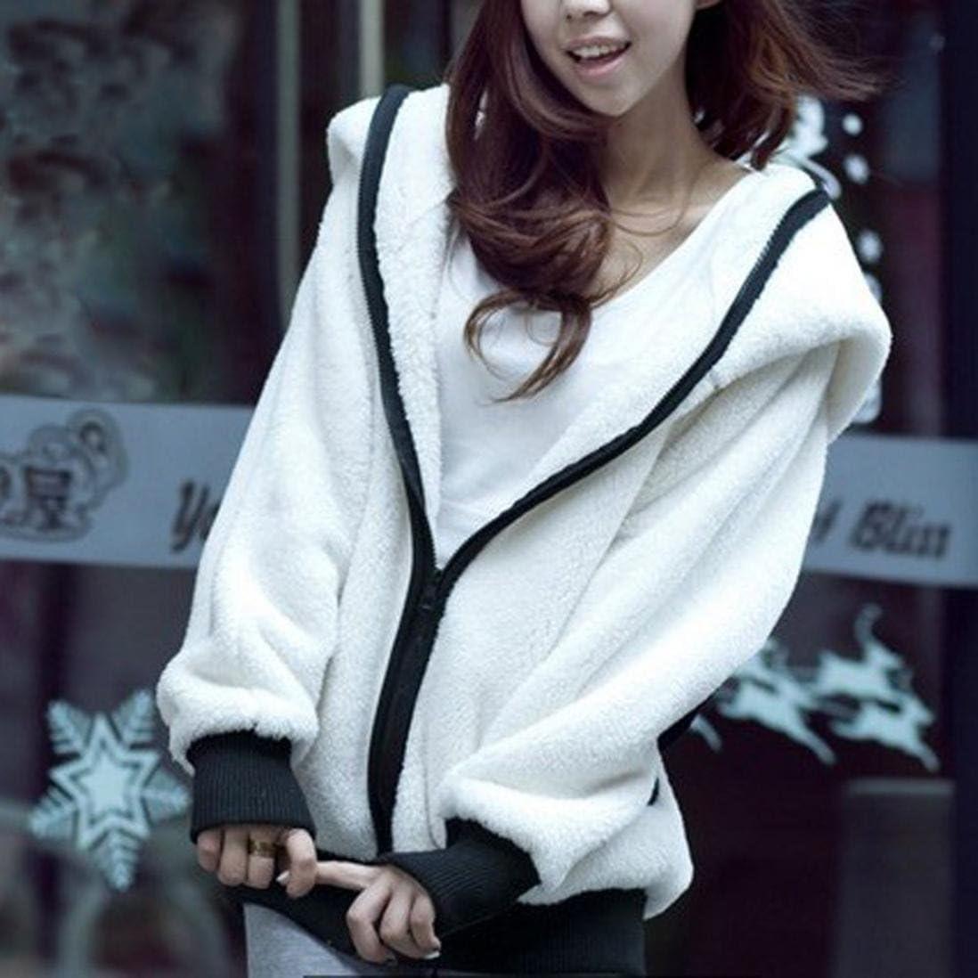 Kobay Cute Bear Ohr Panda Winter Warm Hoodie Mantel Frauen Kapuzenjacke Oberbekleidung Weiß
