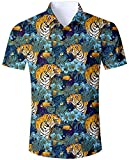 Goodstoworld Colorido Camisa para Hombre Casual Camisas de Vacaciones 3D Divertido Funky Animal Tiger Jungle Print Verano Regular Fit Camisa XXL