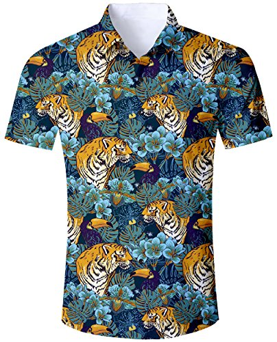 Goodstoworld Hawaiihemd Herren Freizeithemd Kurzarm Tiger Hemd 3D Druck Bunt Jungle Sommerhemd Männer Button Down Shirt