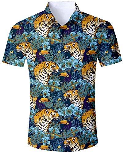 Goodstoworld Colorido Camisa para Hombre Casual Camisas de Vacaciones 3D Divertido Funky Animal Tiger Jungle Print Verano Regular Fit Camisa XXL