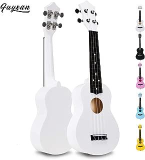 Soprano Ukulele Hawaiian Guitar Musical Instrument with Nylon Strings for Beginners Kids Students, FUYXAN 21 Inch Ukulele Toy for Kids Starter Uke for Gift, White