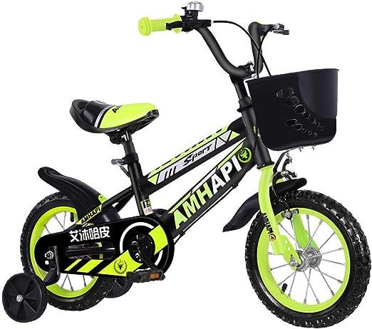 Llpeng Aprendizaje de Bicicletas Niños Bici 12 / 14inch de los niños a Montar en la Bicicleta Niños y niñas de Bicicletas 2-5 años de Edad con Campanas, Bicicleta Verde (Color :