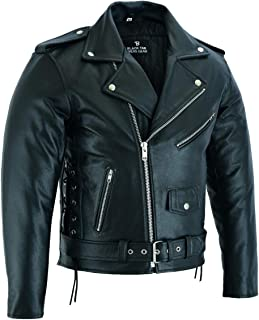 BUSA The Brando Rindsleder Leder Classic Vintage Motorrad Jacke, Schwarz, Größe 4XL 121cm, Bikers Gear