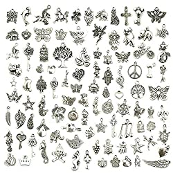 JIALEEY Wholesale Bulk Lots Jewelry Making Silver Charms Mixed Smooth Tibetan Silver Metal Charms Pendants DIY for Necklace Bracelet Jewelry Making and Crafting, 100 PCS