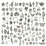 JIALEEY Wholesale Bulk Lots Jewelry Making Silver Charms Mixed Smooth Tibetan Silver Metal Charms Pendants DIY...