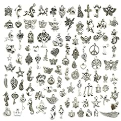 Material: Alloy, Metal. Package including: 100 pieces. Size: 0.28-0.98 inch (0.7-2.5 cm). Exquisite and classical design charms.It can be used in all kinds of decoration. Perfect for necklace, bracelet, dangle, scrapbooking project, keychain, keyring...