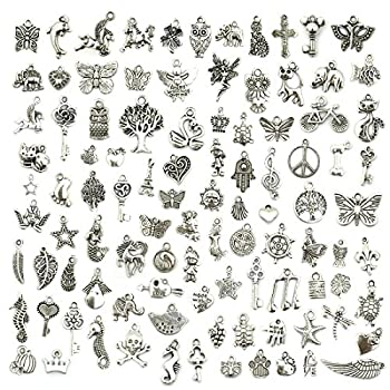 Wholesale Bulk Lots Jewelry Making Silver Charms Mixed Smooth Tibetan Silver Metal Charms Pendants DIY for Necklace Bracelet Jewelry Making and Crafting JIALEEY 100 PCS