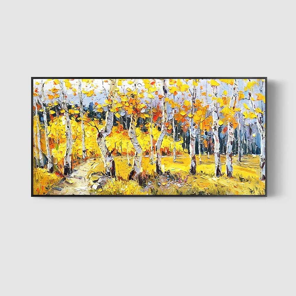 Oil Paintings on New Orleans Mall Canvas Abstract Opening large release sale Grove Trunk Birch White Yellow