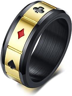 Vnox Nero Acciaio Inox Spades Cuore Club Diamante Anello di Poker Anello Carte da Gioco Anello Spinner Gioco Gioielli per ...