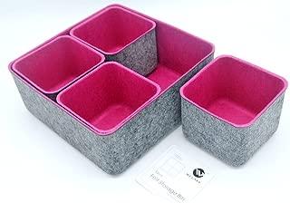 $49 » Welaxy Felt Makeup Organizer Bins Cosmetic Storage bin Drawer dividers (Pack of 5) (Rose Red)