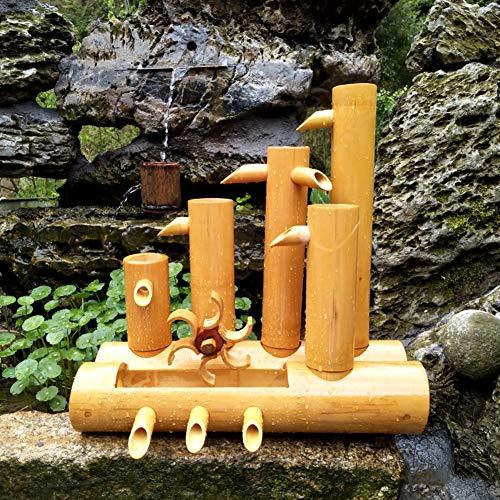 Bambú Fuente,Artesanal Fuentes De Agua Jardín Fluyendo Fuente De Agua Interior Al Aire Libre Esculturas Fuentes Decoración Cascada A 40cm(16in)