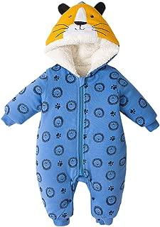 SHUBHU Baby Girl Cartoon Jacket Zip Romper Cotton Jumpsuit Thick Hoodie Coat