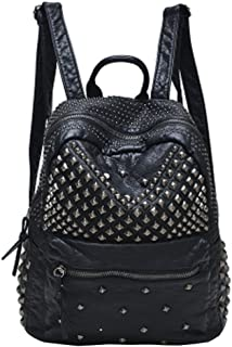 Womens Studded Black Leather Backpack Casual Pack Fashion School Bags for Girls