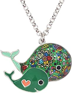 DOWAY Double Whales Necklace for Women Girls Ocean Collection Pendant Jewelry Gift with Floral Enamel