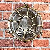 Wandleuchte Außen Antik Echt-Messing Rostfrei E27 Riffelglas Käfigschirm Rund Außenleuchte Feuchtraum Haus