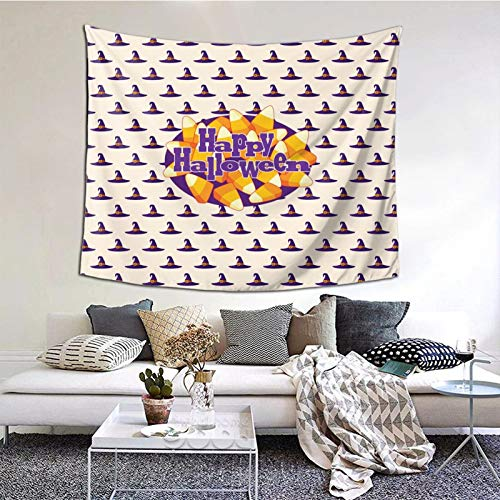Happy Halloween Candy Clipart 60×51 Inch Tapestry Wall Hanging, Wall Art Decoration for Living Room Bedroom Home Decor