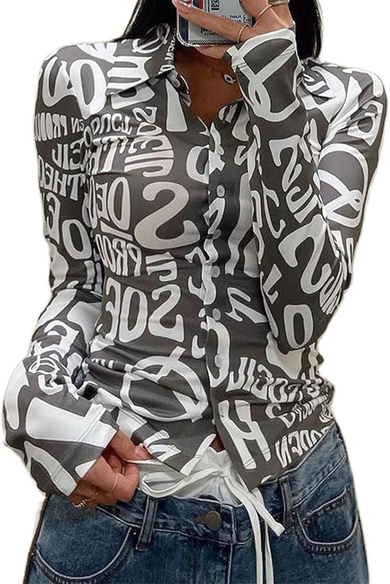 Women Button Down Lapel Shirts Long Sleeve Letter Print Slim Fit Blouse Tops Y2k Fashion Aesthetic T Shirts