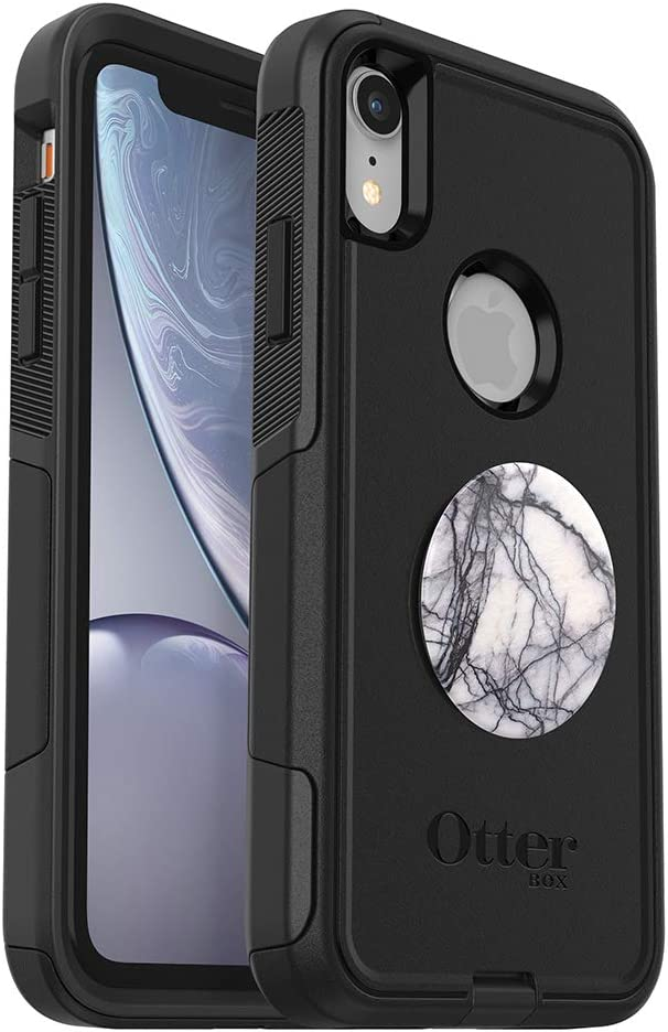 Bundle: OtterBox COMMUTER SERIES Case for iPhone XR - (BLACK) + PopSockets PopGrip - (DOVE WHITE MARBLE)