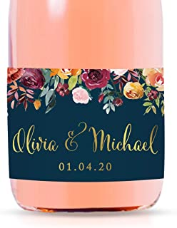 Andaz Press Personalized Mini Champagne Wine Bottle Wedding Favor Labels, Olivia & Michael, Date, Fall Autumn Burgundy Navy Blue Floral Roses, 20-Pack, Custom Mini Champagne Favor Gift Stickers