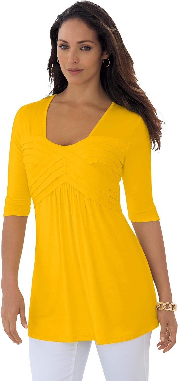 Jessica London Women's Plus Size Pleated Tunic Long Shirt