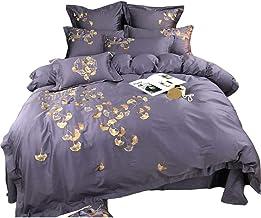 Nordic Minimalist Purple Satin Long-staple Cotton Denim Cotton Embroidery Leaf Design Simplicity Cotton Bedding Cotton Bed...