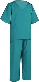 Kids Boys Girls Deluxe Surgeon Doctor Vet Costume Surgical Scrub Uniforms with Cap Halloween Cosplay Costume