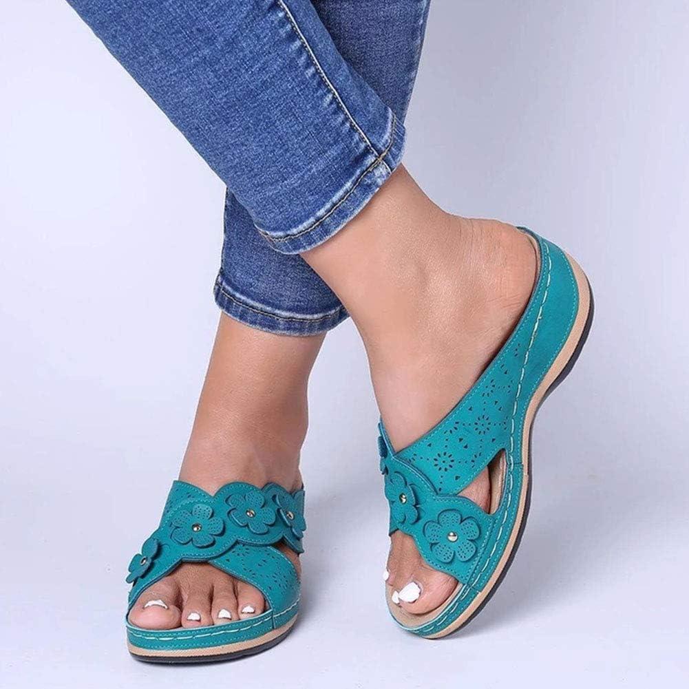 Vimisaoi Women's Flat Sandals, Flower Comfortable Slip On Mules Slide Sandals Slippers