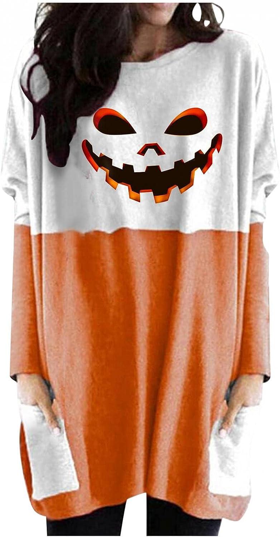 felwors Sweatshirt for Women, Womens Halloween Pumpkin Print Casual Long Sleeve Shirts Oversized Tunic Tops with Pocket