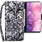 CLM-Tech Hülle kompatibel mit Samsung Galaxy S20 Plus - Tasche aus Kunstleder - Klapphülle mit Ständer & Kartenfächern, Ornament Blume schwarz weiß