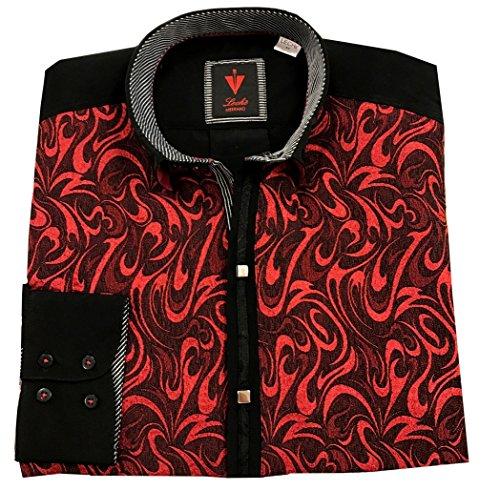 Leché Festliches Designerhemd in roten Ornamentenmuster (M)