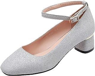 ELEEMEE Women Cute Block Heel Pumps Glitter