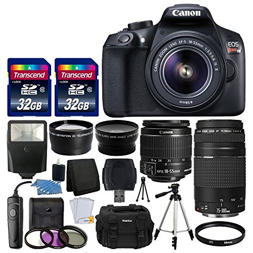 Canon EOS Rebel T6 Digital SLR Camera + Canon 18-55mm EF-S f/3.5-5.6 IS II Lens & EF 75-300mm f/4-5.6 III Lens + Wide Angle Lens + 58mm 2x Lens + Slave...