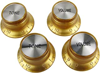 Musiclily Metric Size Plastic Top Hat style 2 Volume and 2 Tone Speed Control Knobs Set for Gibson Les Paul Electric Guitar Replacement, Gold