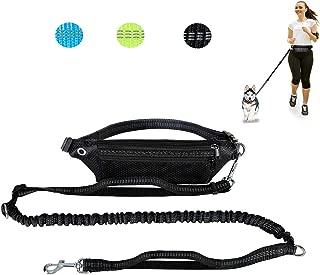 Sanlin Hands Free Dog Leash for Running Walking Jogging Training Hiking, Heavy Duty Shock Absorbing Bungee Dog Leash,Adjustable Waist Belt,Reflective, Dual Handle