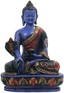 DharmaObjects Tibetan Healing Medicine Buddha Statue Hand Painted Nepal