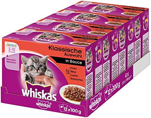 Whiskas Katzenfutter Junior – Klassische Auswahl in Sauce – Ausgewogenes Feuchtfutter für heranwachsende Katzen – 48 Beutel à 100g