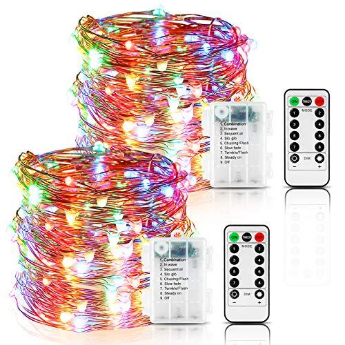 Lichterkette Batterie,2er 12M 120 LED Lichterkette 8 Modi Außenbeleuchtung Kupferdraht Wasserdichte IP65 mit Fernbedienung und Timer für Outdoor,Innenbeleuchtung,Weihnacht (Mehrfarbig)
