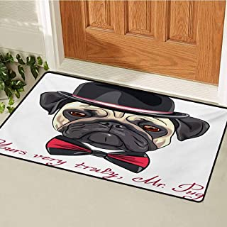 GUUVOR Pug Welcome Door mat Sketch Style Hipster Dog Frowning Sad Face Pure Bred Top Hat and a Bow Tie Mr Pug Door mat is odorless and Durable W19.7 x L31.5 Inch Black Red Cream
