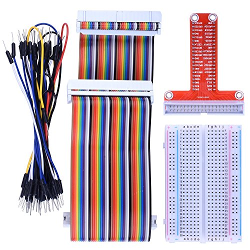 kuman RPi GPIO Breakout Expansion Kit for Raspberry Pi, T-Type Expansion Board + 400 Points Tie Points Solderless Breadboard + 40 pin IDE Male - Female - Male Extension Cable + 35pcs Jump Wires K80