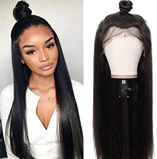 UNice Hair 10A Straight Hair 360 Lace Front Wigs Human Hair, Brazilian Virgin Human Hair Wigs with Baby Hair Natural Black Color 180% Density (20 inch)