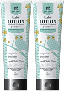 Grab Green 99% Natural Baby Lotion, Calming Chamomile Fragrance—with Essential Oils, 8 fl oz (2-Pack), Plant-Based & Biodegradable, Daily Moisturizer