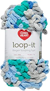 RED HEART E884.9860 Loop-It yarn Blue & Green With Envy