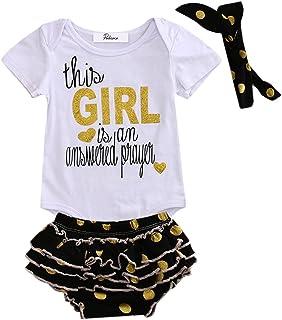 6376dd1788abd Baby Girl 3pcs Set Letters Print Bodysuit Gold Polka Dots Ruffle Shorts Outfit  Headband