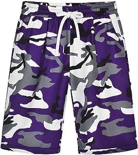 Womens Running Printed Elastic Waist Drawstring Camo Shorts