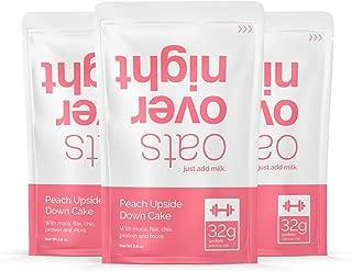 Oats Overnight - Peach Upside Down Cake - Premium High-Protein, Low-Sugar, Gluten-Free (2.8oz per pack) (12 Pack)