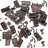 INCREWAY 50 Conjuntos 30 * 26mm Mini Bisagras, Retro Bisagras Plegables de Gabinete de Hierro con Tornillos para Joyas, Cajones, Armarios, Muebles, Accesorios de Madera