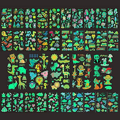 20 Blätter Tattoo Kinder,Tier Transport Einhorn Temporäre Tattoos Set,im Dunkeln leuchten,Hautfreundliche Kindertattoos Berufe - kindgerechte Designs -als Geburtstagsmitgebsel oder Geschenkidee
