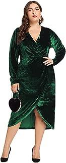 Women's Plus Size Round Neck Long Lantern Sleeve Belted Pencil Dress