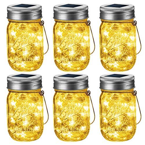 GIGALUMI Solar Mason Jar Leuchte 6 Pack Einmachglas Solar Laterne Stern Lichterkette Wasserdicht Warmweiß Hängeleuchten für Garten Party, Weihnachten, Hochzeit