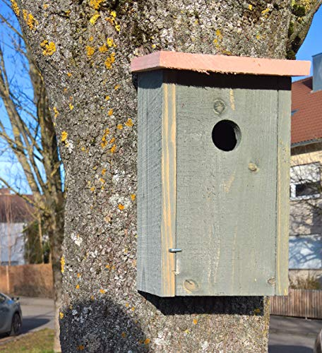 Maison-en-France Nistkasten -Vogelhaus- sehr stabile Ausführung- naturbelassen - für Blau- und Tannenmeisen, Feldsperlinge,Kohlmeise, Haussperling, Kleiber und Trauerschnäpper.